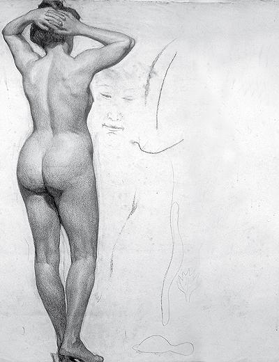 Weiblicher Akt von halblinks, Profil, Kohle, Paris 1899