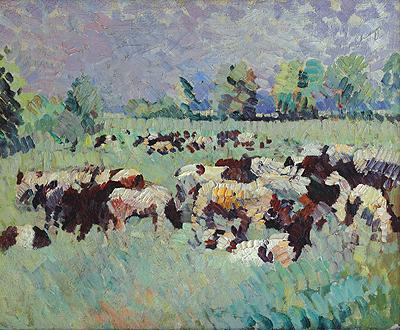 Rinderherde auf der Weide. Halle 1914